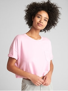 Crop Pocket T-Shirt in French Terry