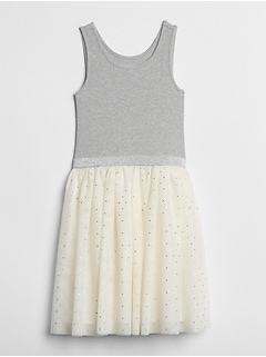 Dot Tulle Mix-Fabric Dress