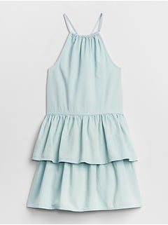 Denim Halter Tier Dress