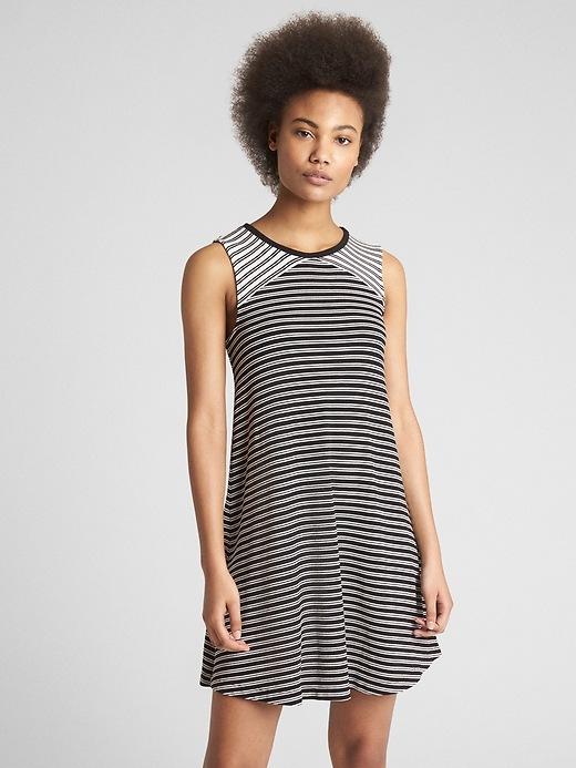 Gap Womens Softspun Cutout Tank Dress Black Stripe Size L