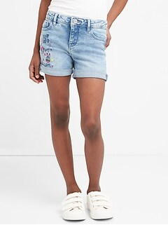 Embroidery Midi Shorts with Fantastiflex