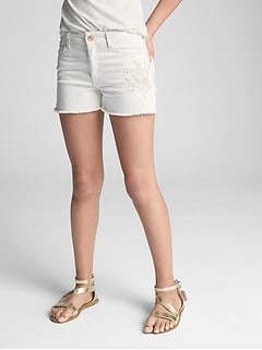 High Rise Embroidery Shorty Shorts