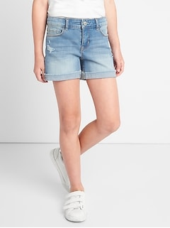 Midi Shorts in Distruction with High Stretch