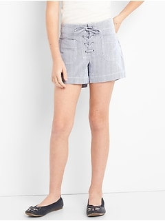Pinstripe Lace-Up Shorts