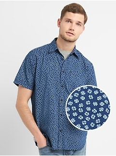 Standard Fit Print Short Sleeve Shirt in Denim