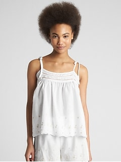 Dreamwell Embroidered Tie-Strap Cami