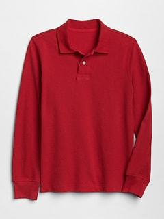 Kids Uniform Long Sleeve Polo Shirt