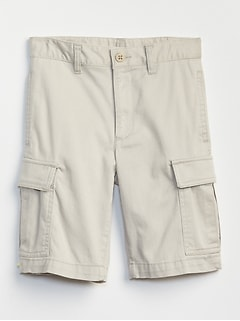 Kids Khaki Cargo Shorts in Stretch