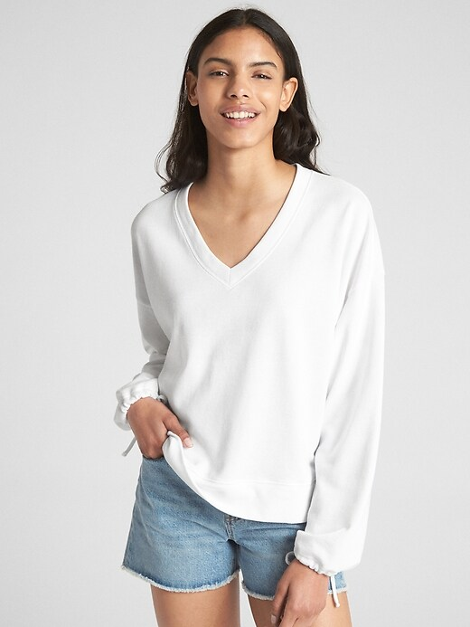 Balloon Sleeve Pullover Sweatshirt In French Terry by Gap