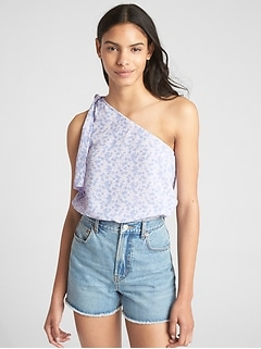 Print One-Shoulder Tie Top