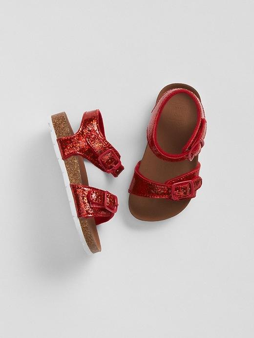Gap Baby Glitter Cork Sandals Red Size 7T/8T