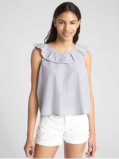 Ruffle Tie-Back Tank Top in Poplin