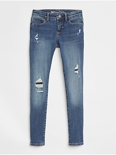 Kids Superdenim Super Skinny Jeans in Destruction with Fantastiflex