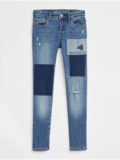 Kids Superdenim Super Skinny Jeans in Patchwork with Fantastiflex