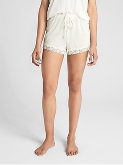 Drawstring Shorts with Lace Hem