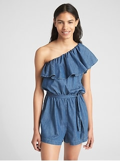 Ruffle One-Shoulder Romper in Denim