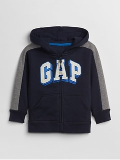 Logo Zip Hoodie Sweatshirt in Fleece