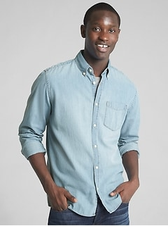 Denim Standard Fit Pocket Shirt
