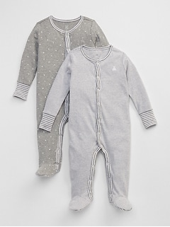 Baby First Favorite Stripe Footed One-Piece (2-Pack)