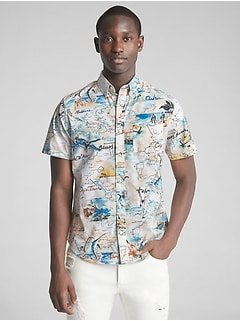 Print Poplin Short Sleeve Shirt in Stretch