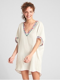 Dreamwell Crinkle Embroidered V-Neck Tunic Cover-Up