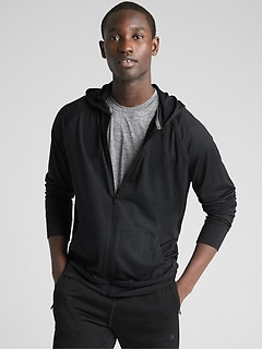 GapFit Full-Zip Hoodie in Brushed Tech Jersey