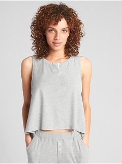Hi-Lo Notch-Neck Tank Top in Pima Cotton