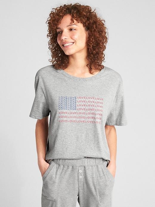 Gap Womens Forever Favorite T-Shirt Light Grey Flag Size M