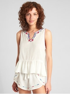 Dreamwell Embroidered Crinkle Tank Top