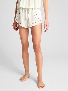 Dreamwell Embroidered Crinkle Shorts