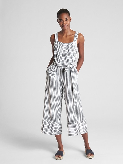 Sleeveless Square Neck Jumpsuit In Linen by Gap