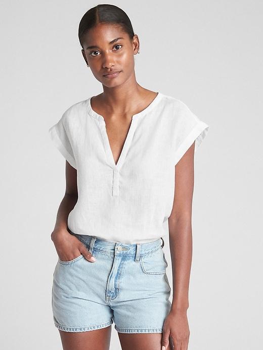 Gap Womens Short Sleeve Popover Shirt In Linen White Size L