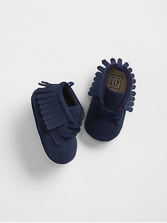 Lace-up fringe moccasins