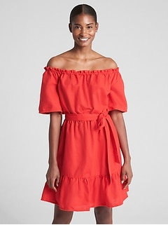 Off-Shoulder Tiered Ruffle Dress in Linen-Cotton