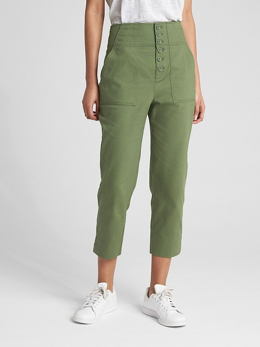 High Rise Crop Chinos With Button Fly by Gap