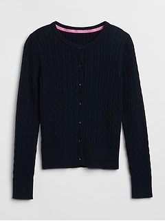 Uniform Cable-Knit Cardigan Sweater