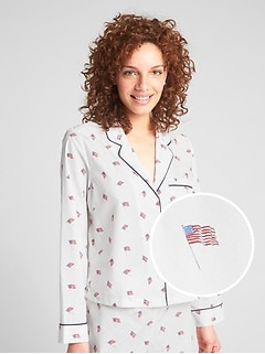 Flag Print Long Sleeve Top
