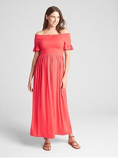 Maternity Smocked Off-Shoulder Maxi Dress