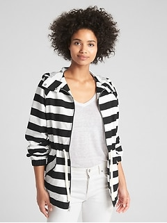 Short Stripe Parka Jacket