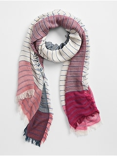Oversized Colorblock Stripe Scarf