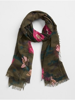 Oblong Camo Floral Print  Scarf