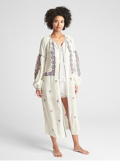 Dreamwell Crinkle Embroidered Robe