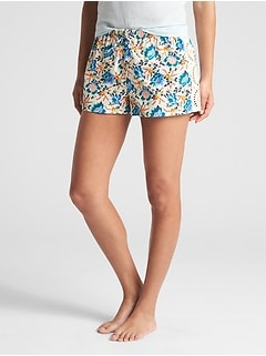 "3"" Print Drawstring Shorts with Embroidery"