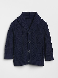 Cable-Knit Shawl Cardigan Sweater