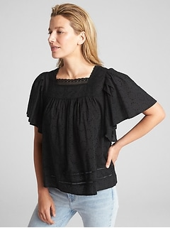 Flutter Sleeve Lace-Trim Smock Top