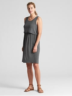 Maternity layered nursing dress