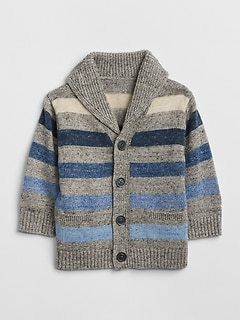 Stripe Shawl Cardigan Sweater