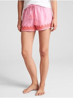 "3"" Embroidered Tassel-Drawstring Shorts"