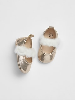 Fur Trim Ballet Flats