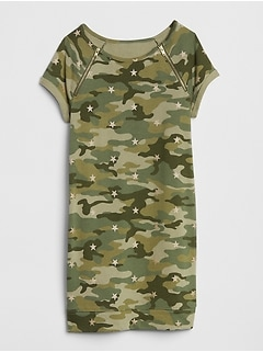 Camo Zip T-Shirt Dress